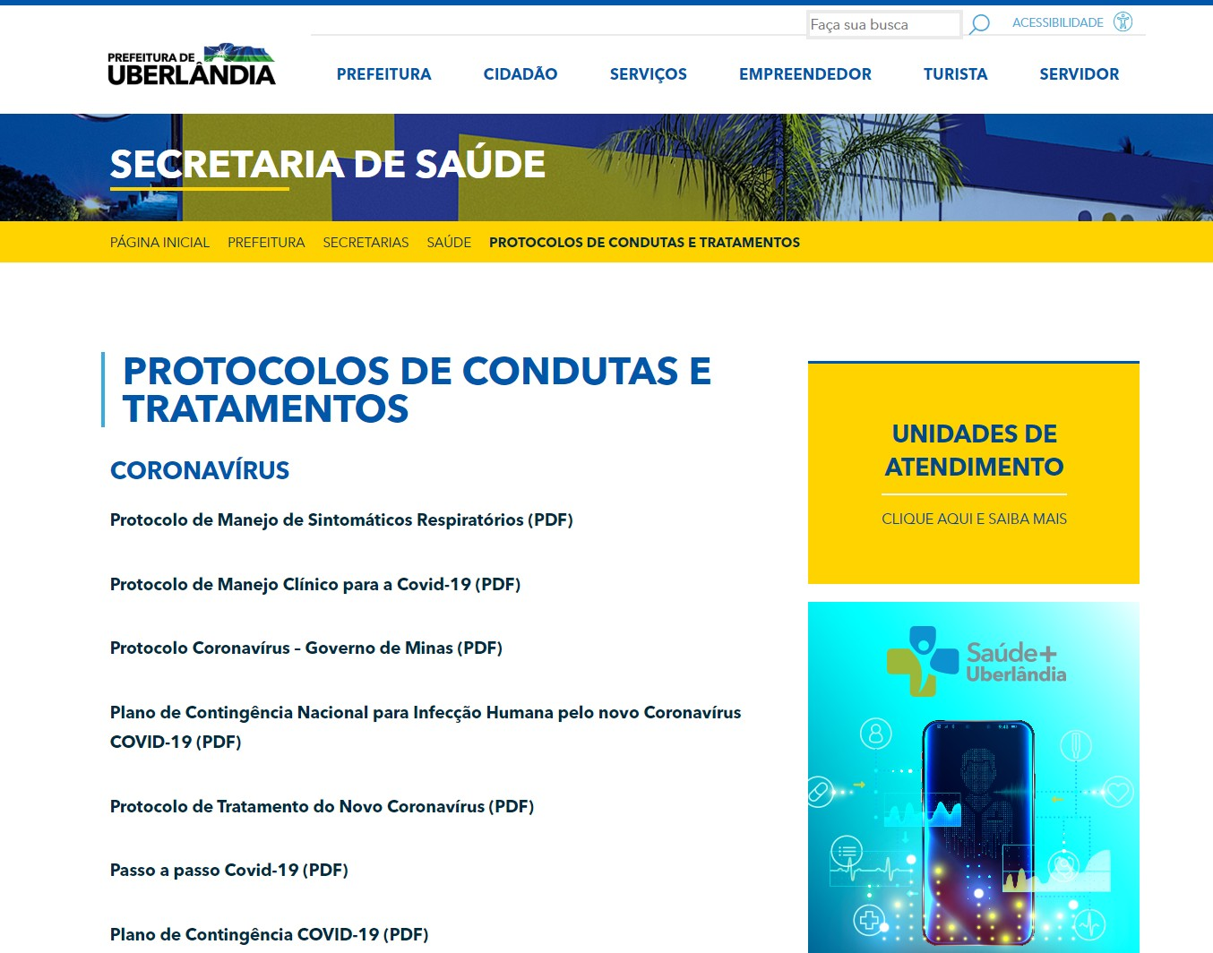 Protocolos de consultas e tratamentos da rede pública de saúde de Uberlândia podem ser acessados pela internet