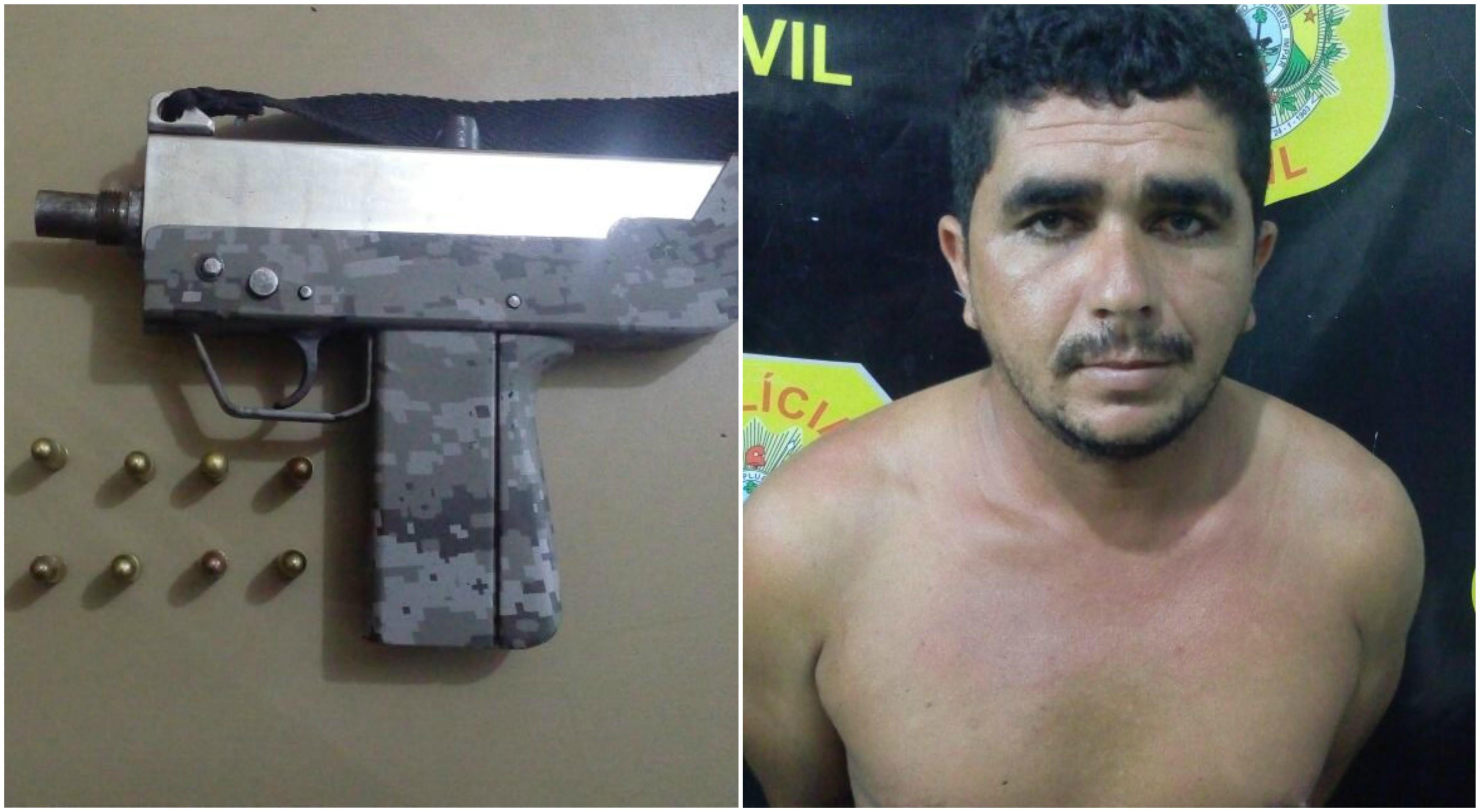 Homem é preso com submetralhadora em cidade do interior do Acre