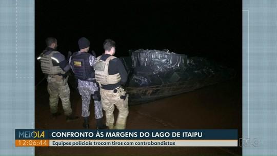 PF apreende embarcação e caminhão carregados de cigarros, em Itaipulândia