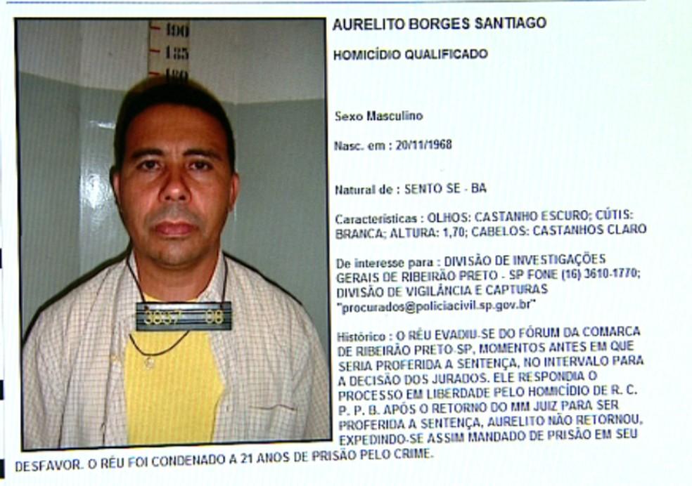 Aurelito Santiago era um dos mais procurados em site da Secretaria Estadual de segurança Pública — Foto: Sérgio Oliveira/EPTV