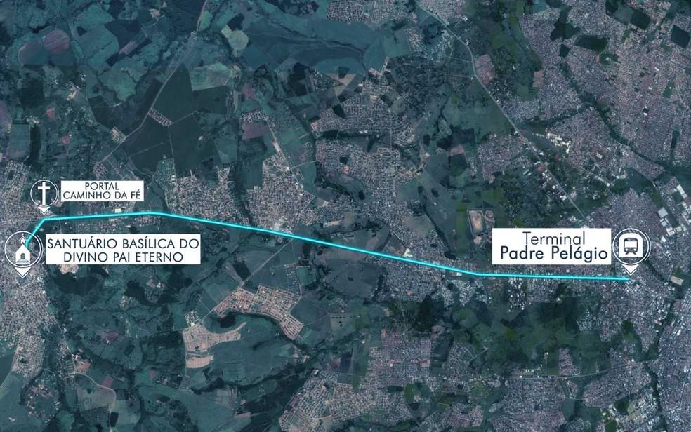 Percurso feito a pé por romeiros entre Goiânia e Trindade — Foto: Arte/TV Anhanguera