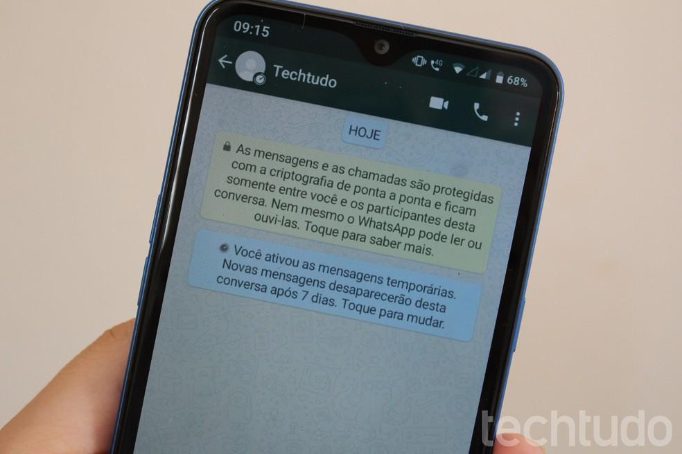 As mensagens temporárias somem do aplicativo após um período de sete dias — Foto: Marcela Franco/TechTudo