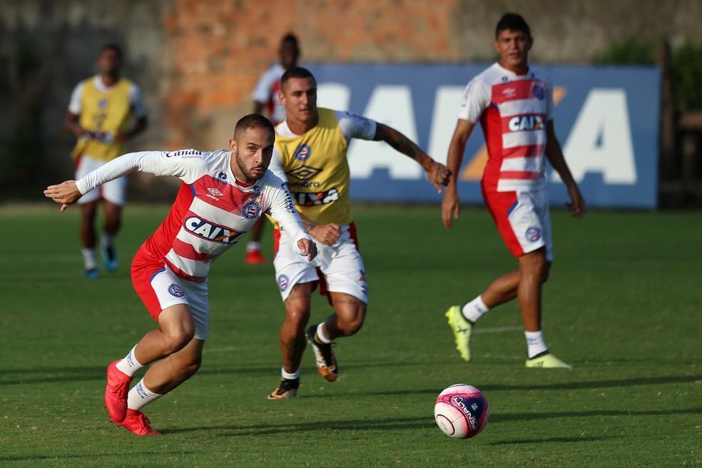 Tricolor realiza último treino antes da partida contra o Vitória da Conquista. (Foto: Felipe Oliveira/Divulgação/EC Bahia)