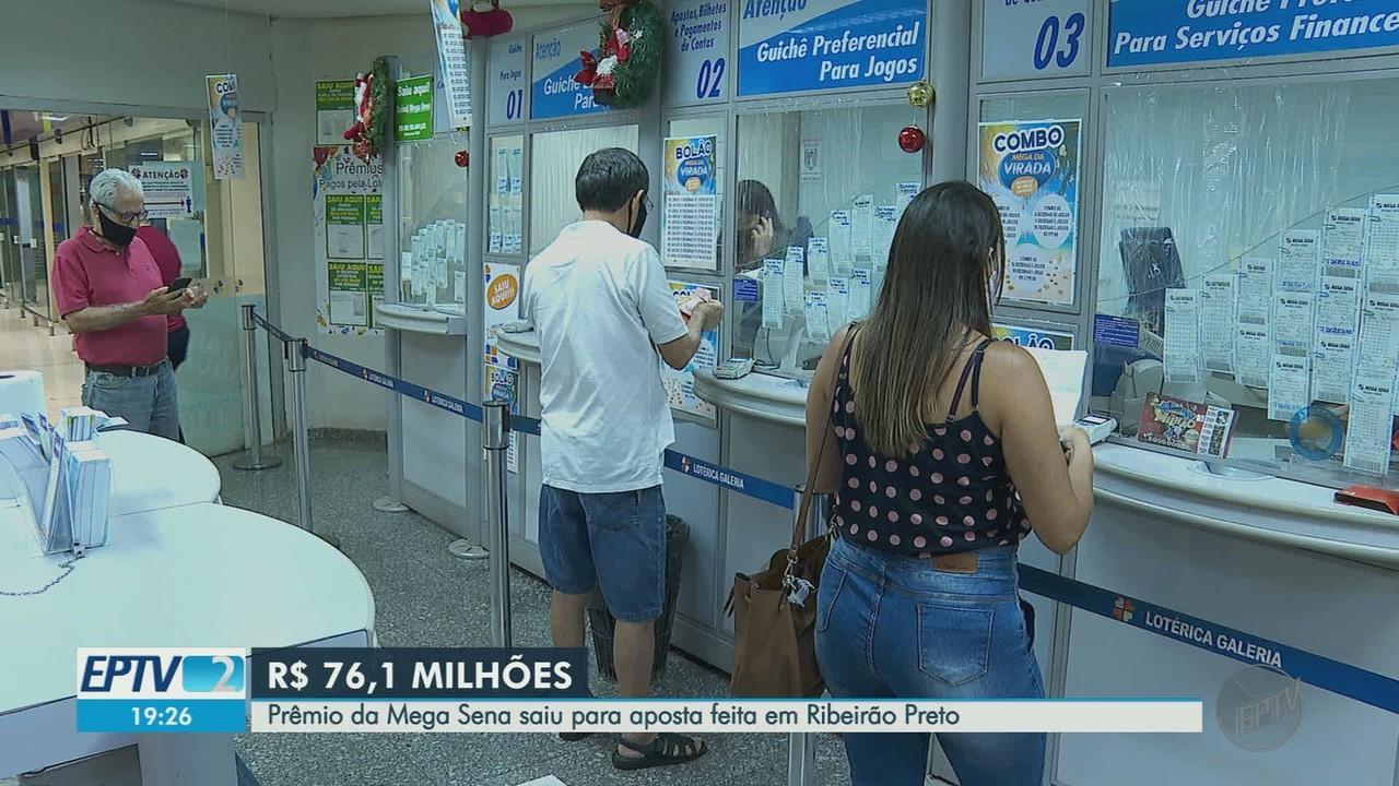 Prêmio de R$ 76,1 milhões da Mega-Sena sai para Ribeirão Preto, SP
