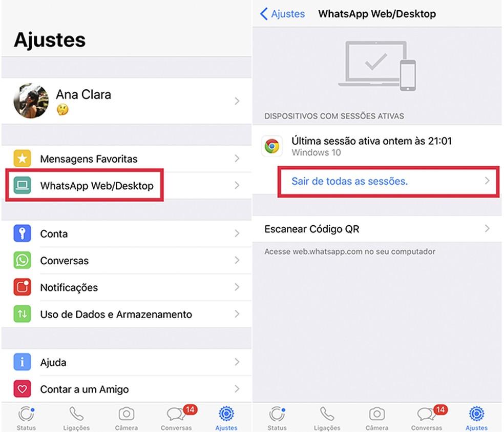 É importante sempre sair das sessões ativas do WhatsApp Web para evitar que acessem suas mensagens sem autorização — Foto: Reprodução/Ana Clara Frontelmo