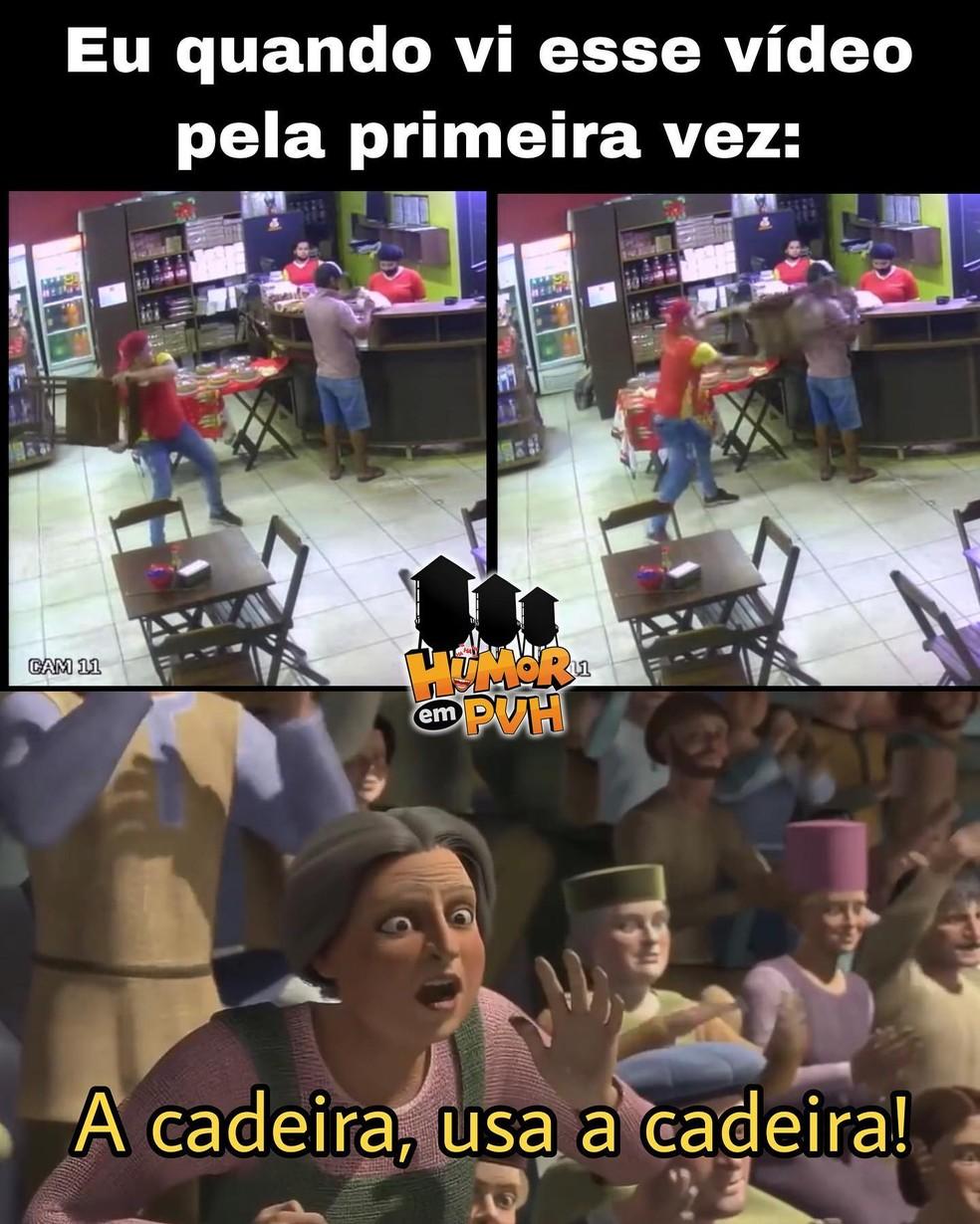 Internautas fazem memes após assaltante levar cadeirada em Porto Velho — Foto: Humor em PVH/Facebook