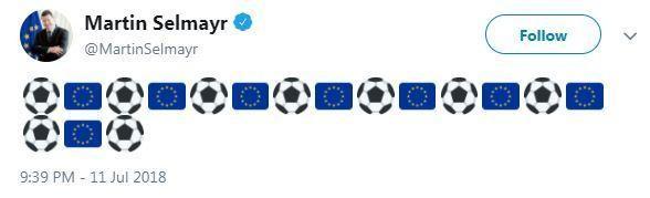 O tuíte provocador do burocrata alemão da União Europeia fazendo piada com a derrota da Inglaterra na Copa do Mundo (Foto: Twitter)