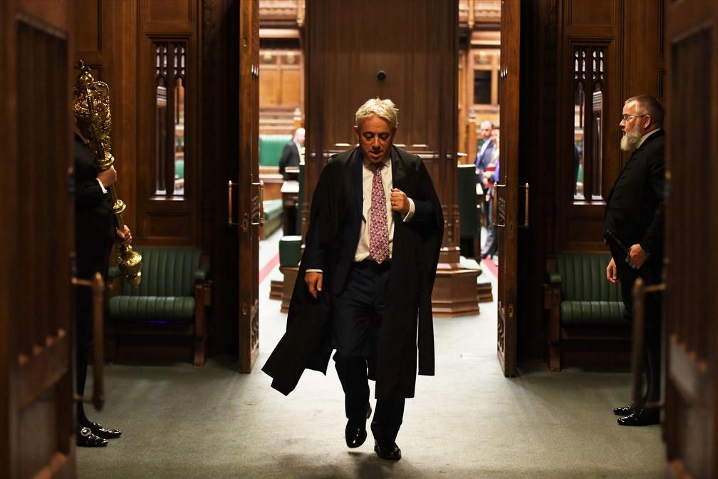 John Bercow deixa, pela última vez, o Parlamento britânico como presidente da Câmara dos Comuns nesta quinta-feira (31) — Foto: ©UK Parliament/Jessica Taylor/Handout via REUTERS