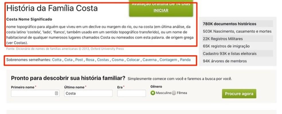 Seção com a história de uma família pesquisada no serviço online Ancestry — Foto: Reprodução/Marvin Costa