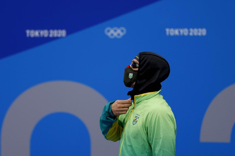 Bruno Fratus antes de semifinal dos 50m livre — Foto: Satiro Sodré/SSPress/CBDA