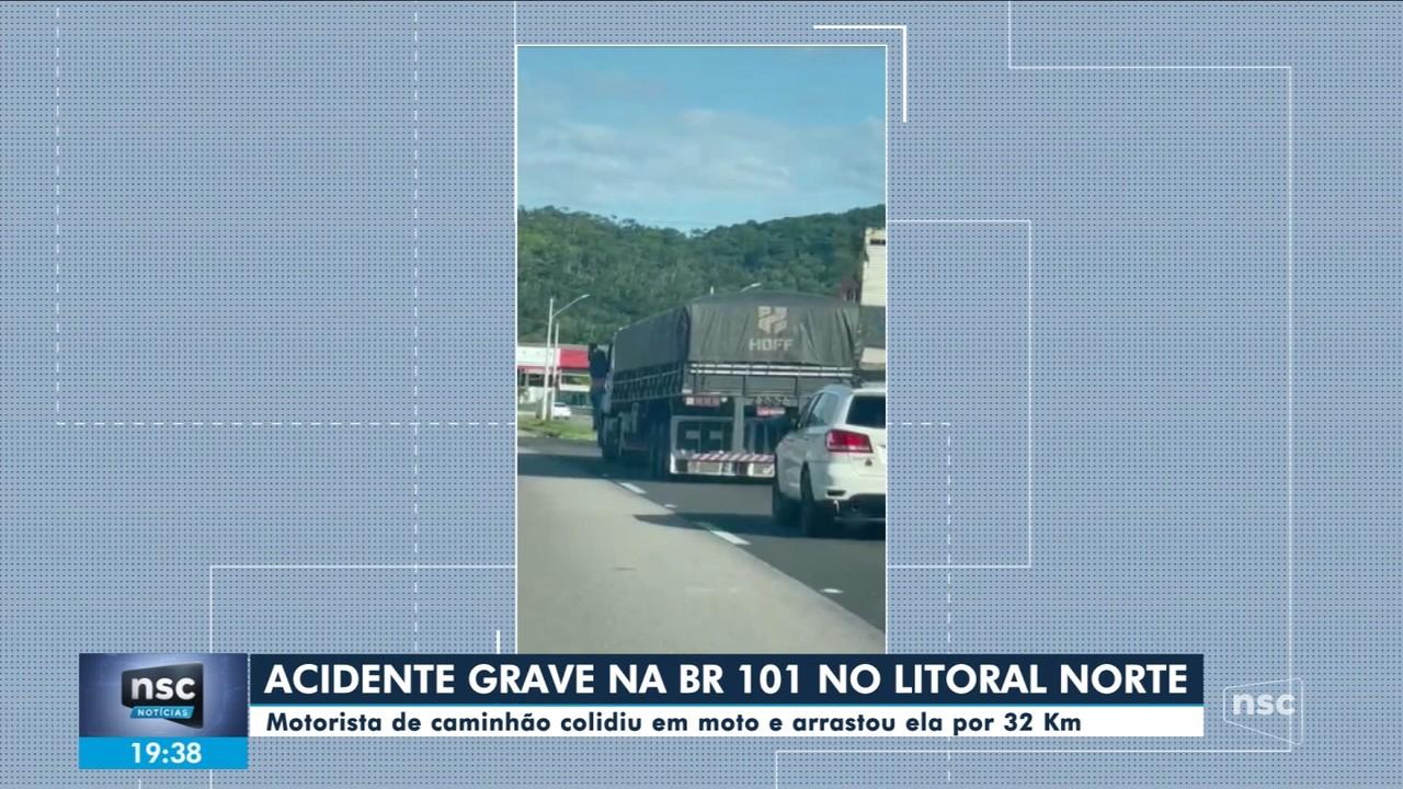 Caminhão bate em moto na BR-101 e a arrasta por 32 quilômetros; mulher ficou ferida