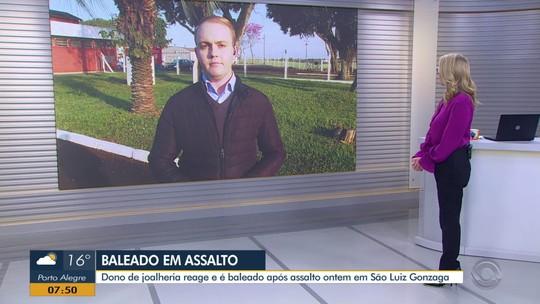 Proprietário de joalheria é baleado durante assalto em São Luiz Gonzaga