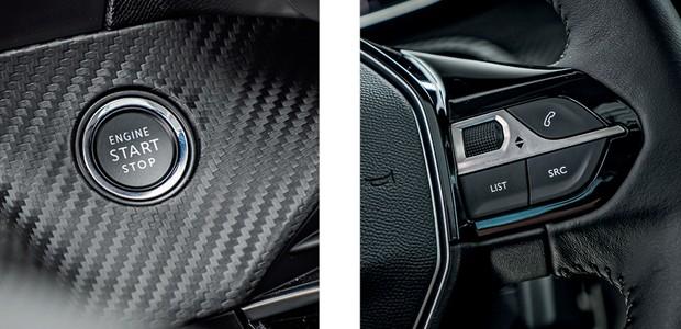 Peugeot 208 Griffe 1.6 - Revestimentos que imitam fibra de carbono estão presentes na versão Griffe testada (Foto: Rafael Munhoz)