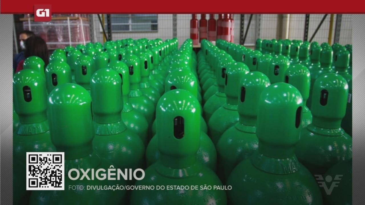 G1 em 1 Minuto - Santos: Governo de SP anuncia entrega de cilindros de oxigênio na região