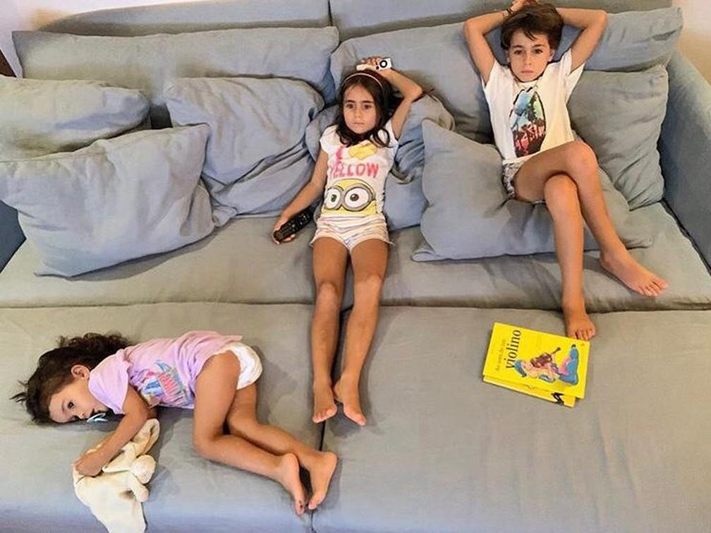 Julieta, Francisca e Vicente, filhos do ator Ricardo Pereira e Francisca Pinto — Foto: Divulgação