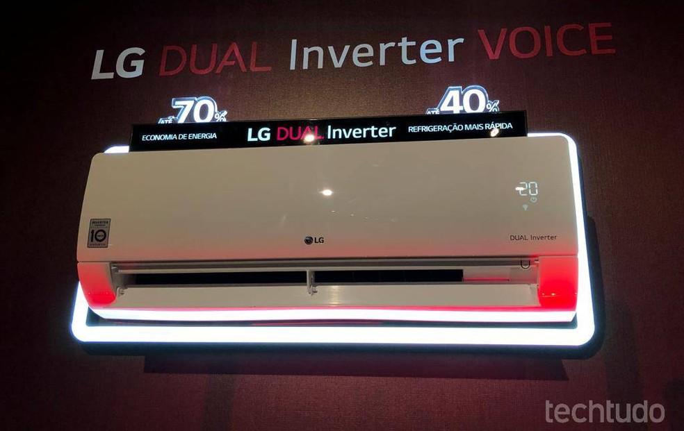 Linha LG DUAL Inverter VOICE promete economia de até 70% no consumo de energia — Foto: Pedro Vital/TechTudo