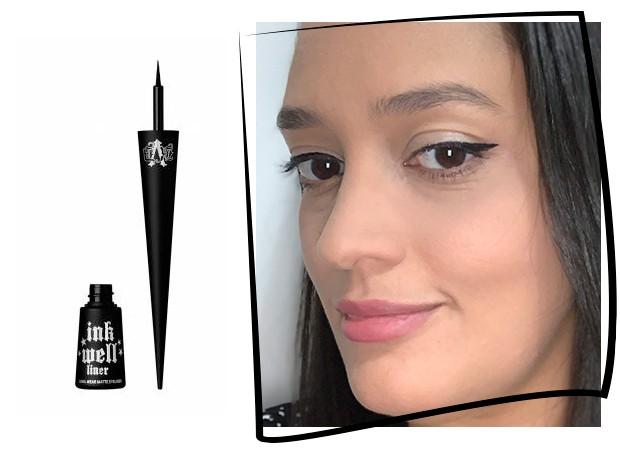 Ana Moura testa o Inkwell Matte Eyeliner da KVD Vegan Beauty (Foto: Reprodução)