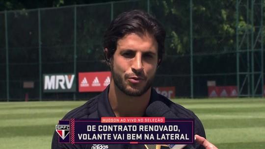 Hudson diz se sentir bem como lateral, agradece Muricy e Milton Cruz, e torce por Pato no São Paulo