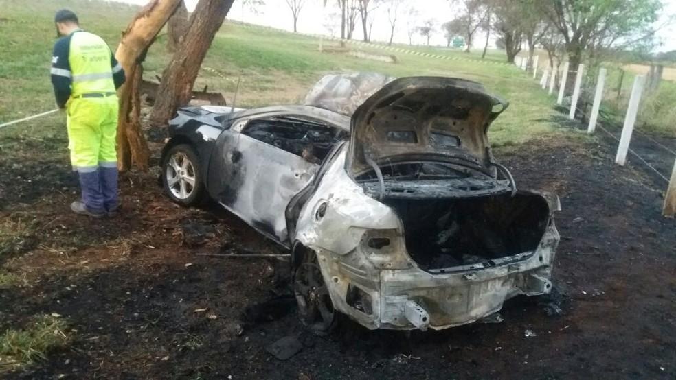 Carro ficou totalmente destruído em acidente na BR-369, no trecho entre Casa Branca e Santa Cruz das Palmeiras (SP). (Foto: Polícia Civil/Divulgação)