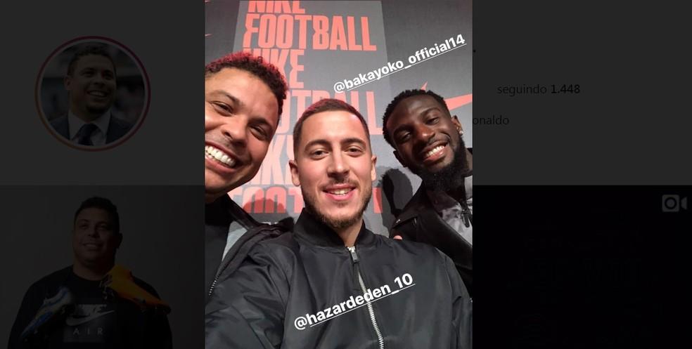 Ronaldo, e os jogadores do Chelsea, Hazard e Bakayoko (Foto: Reprodução/Instagram)