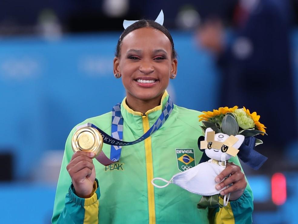 Rebeca Andrade é ouro nas Olimpíadas — Foto: Ricardo Bufolin/ Panamerica Press/ CBG