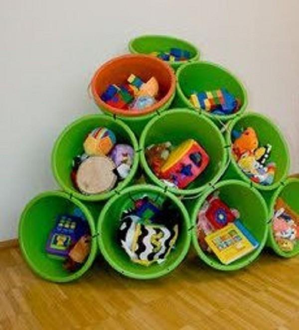 Organizadores baldes de limpeza (Foto: Pinterest)
