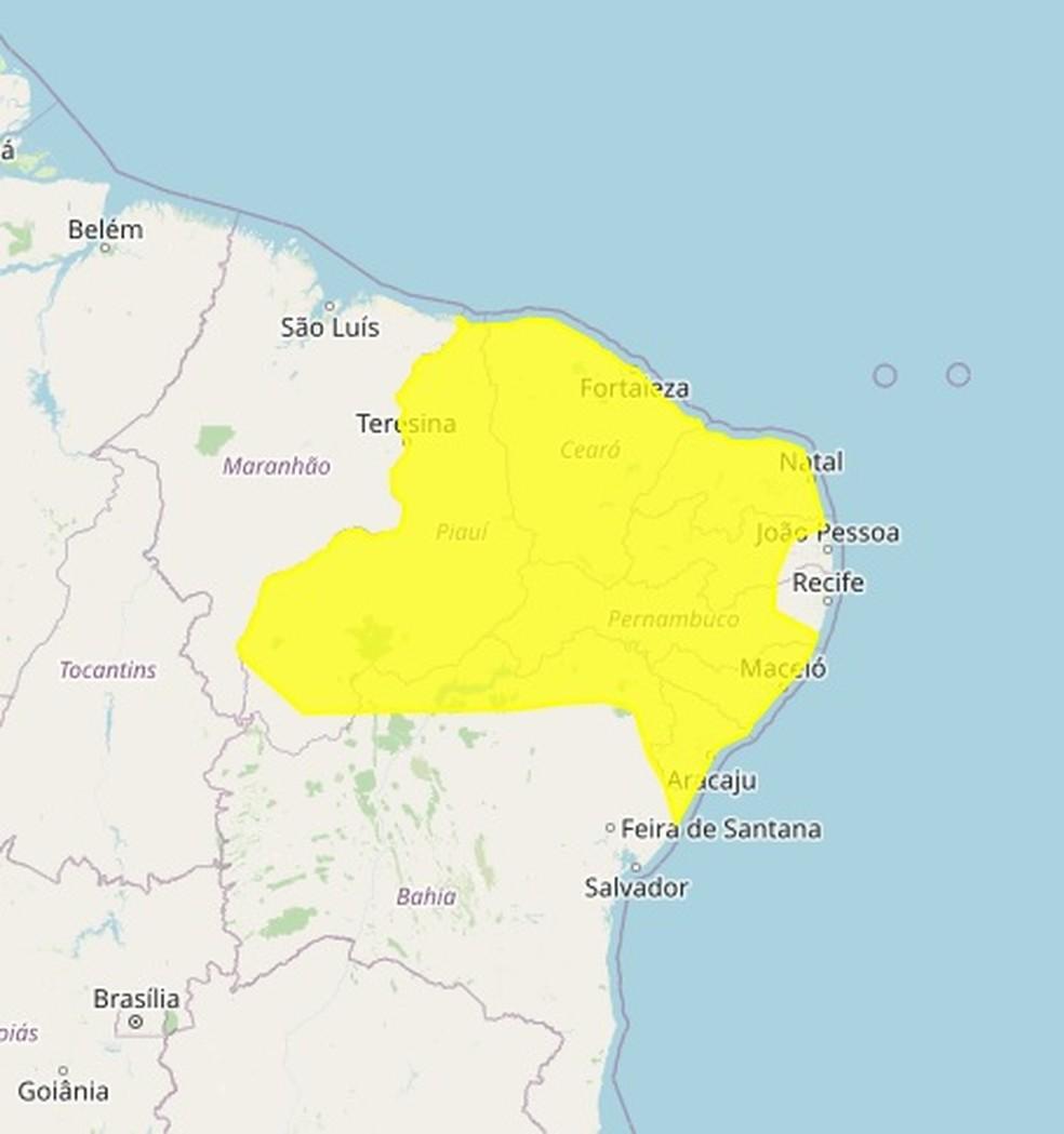 Chuvas vão atingir todos os municípios do Rio Grande do Norte — Foto: Divulgação/Inmet