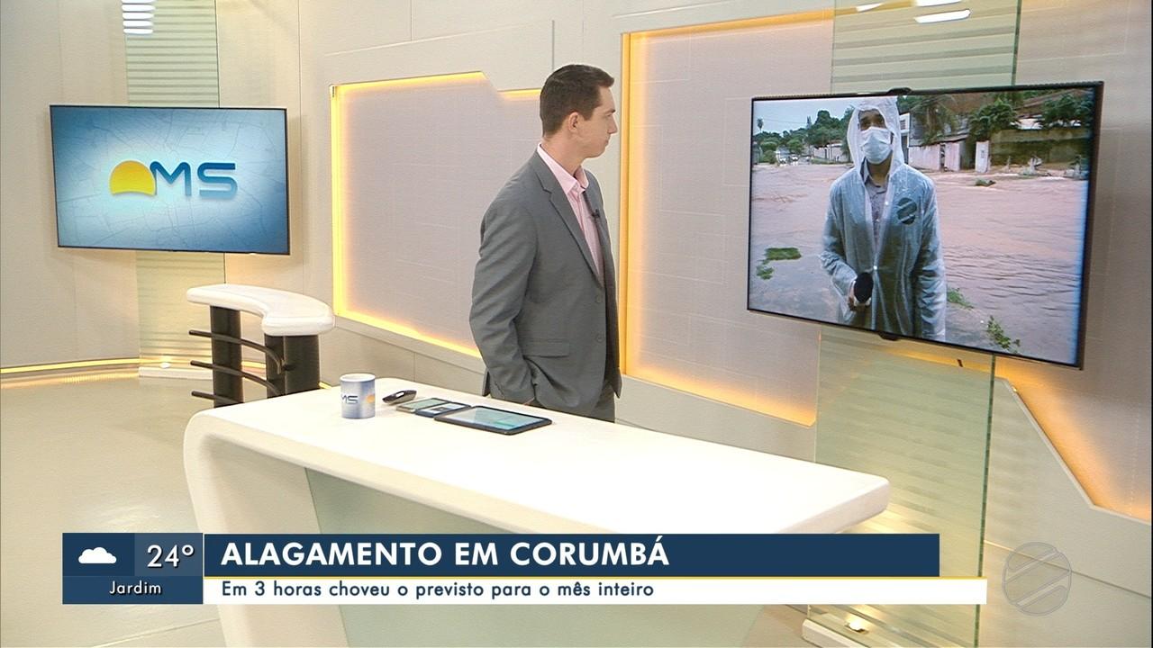 Alagamento em Corumbá: em 3 horas choveu o previsto para o mês inteiro