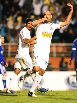 Bruno rodrigo comemora gol, Santos e Universidad (Foto: Marcos Ribolli / Globoesporte.com)