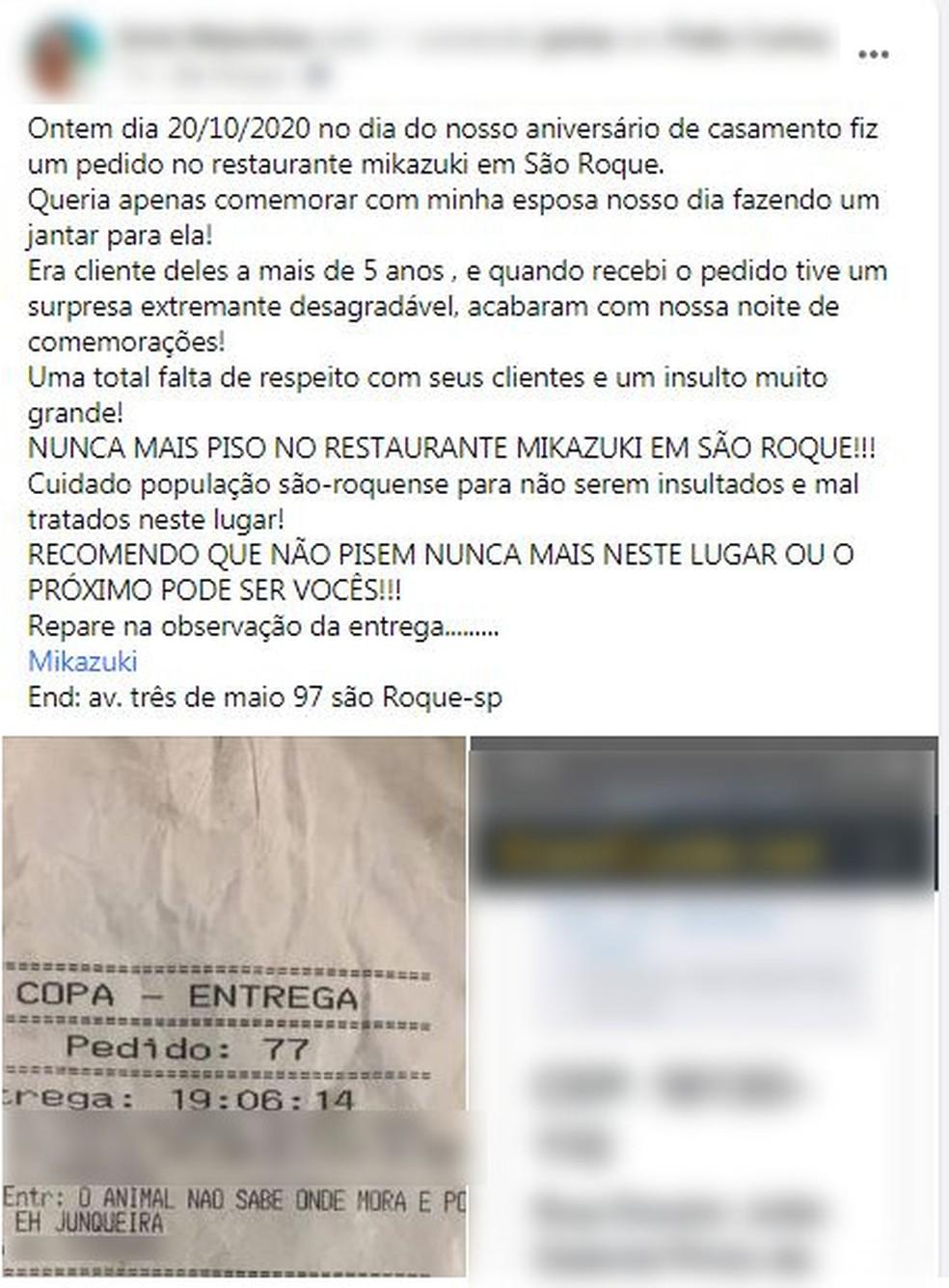 Morador postou indignação com comentário em comanda de entrega, em São Roque — Foto: Reprodução/Facebook