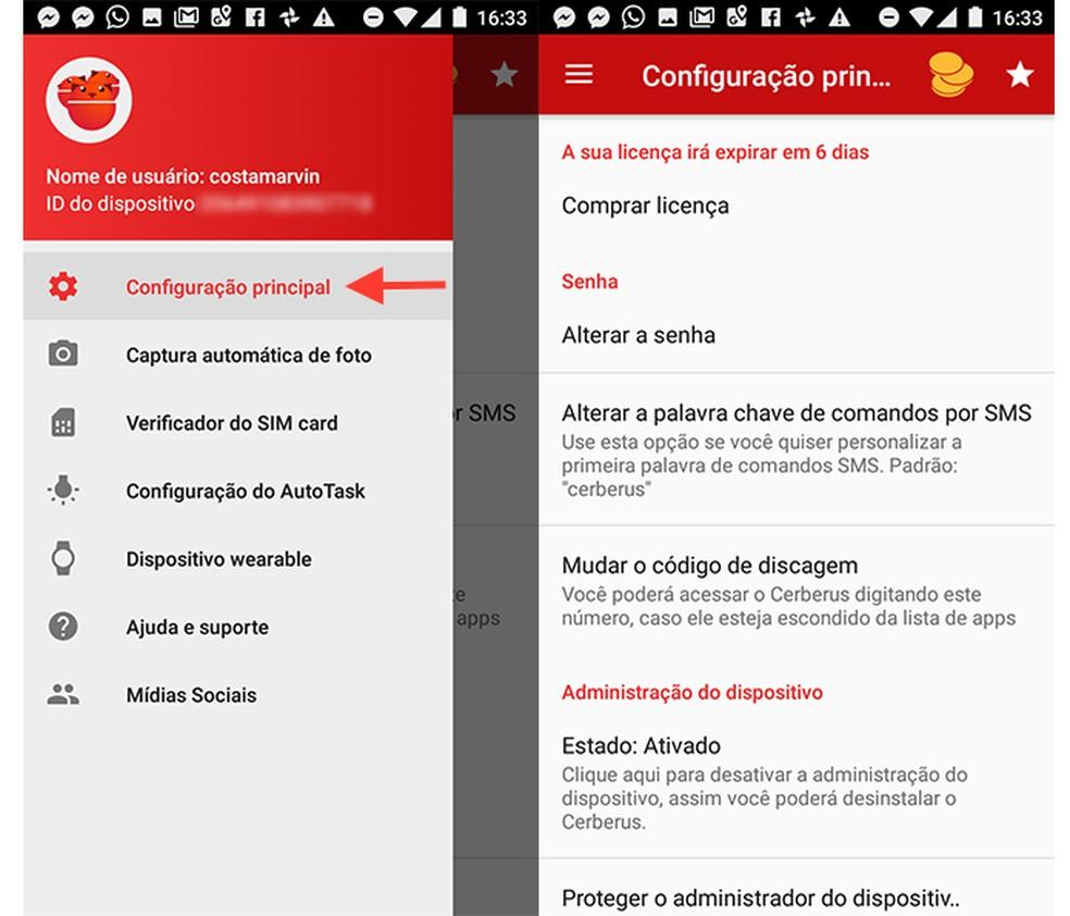 Tela de configurações principais do app Cerebus (Foto: Reprodução/Marvin Costa)