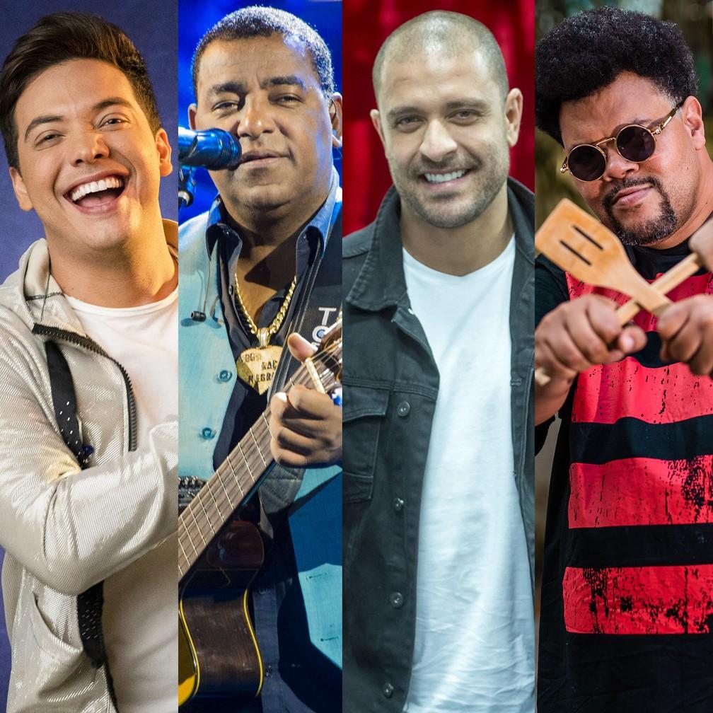 Wesley Safadão, Raça Negra, Diogo Nogueira e Babu Santana fazem lives neste domingo (17) — Foto: Globo/Victor Pollak; Divulgação; Globo/João Cotta; Divulgação/Christoffer Pixinine