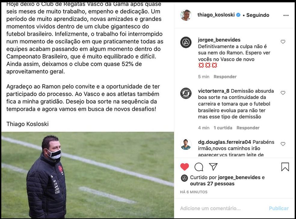 Comunicado de Thiago Kosloski sobre a demissão do Vasco — Foto: Reprodução