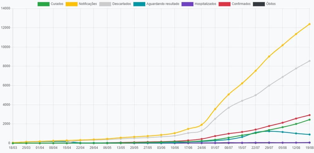 Gráfico de casos de coronavírus em Presidente Prudente, em 19 de agosto  — Foto: Reprodução