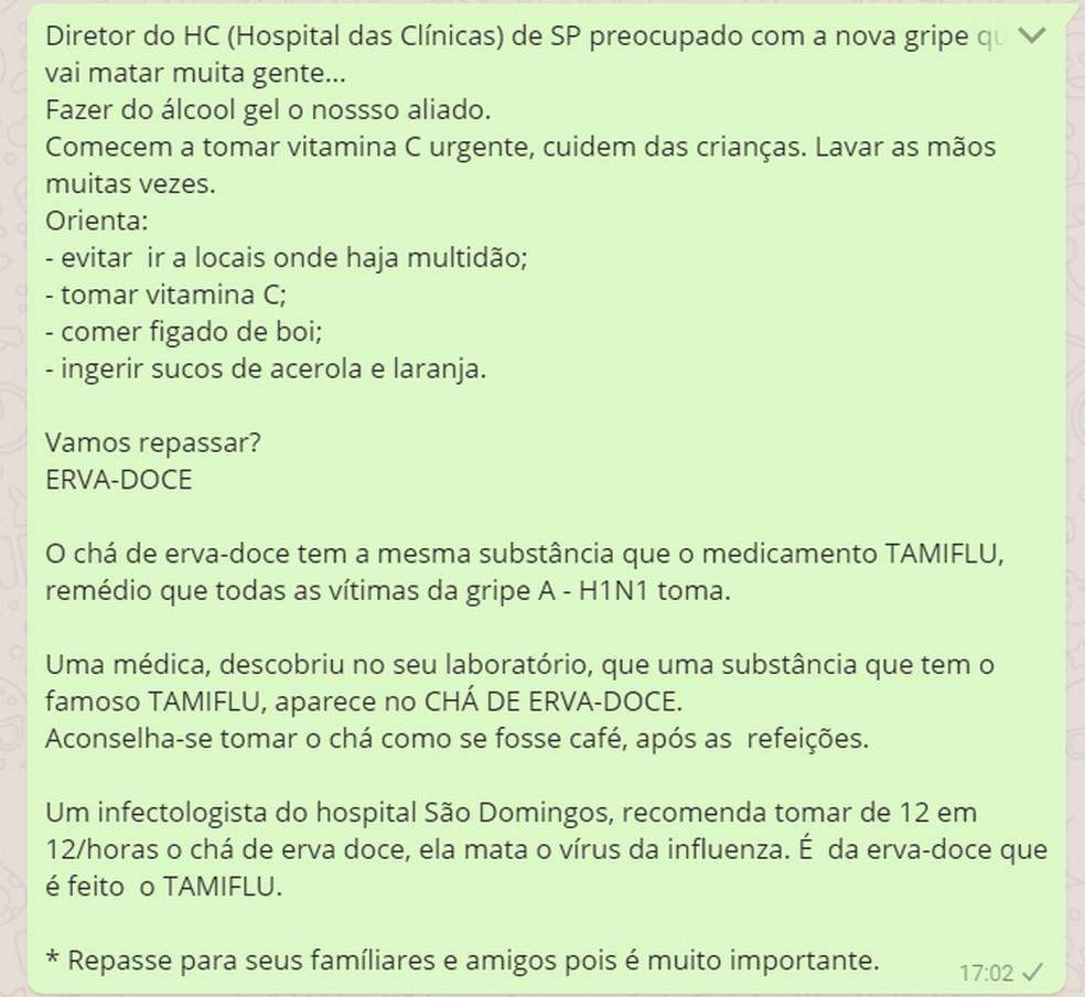 Mensagem falsa que circula no WhatsApp diz que diretor do HC falou sobre gripe  (Foto: Reprodução/ WhatsApp)