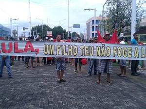 Ato contra o impeachment da presidente Dilma em Teresina (Foto: Juliana Gomes/G1)