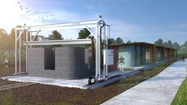 Construção das casas produzidas pela impressora 3D Vulcan leva menos de 24h. Na foto, vemos o resultado final do trabalho da impressora. os últimos retoques e o telhado são feitos pelos trabalhadores (Foto: Divulgação / ICON)