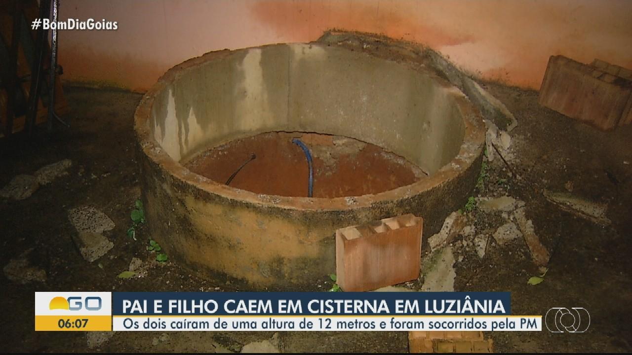 Pai e filho caem dentro de cisterna em Luziânia