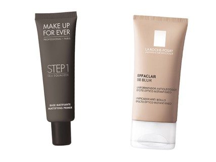 Primer matificante Make Up For Ever, R$ 165 e BB Blur Effaclar La Roche Posay, R$ 99,90