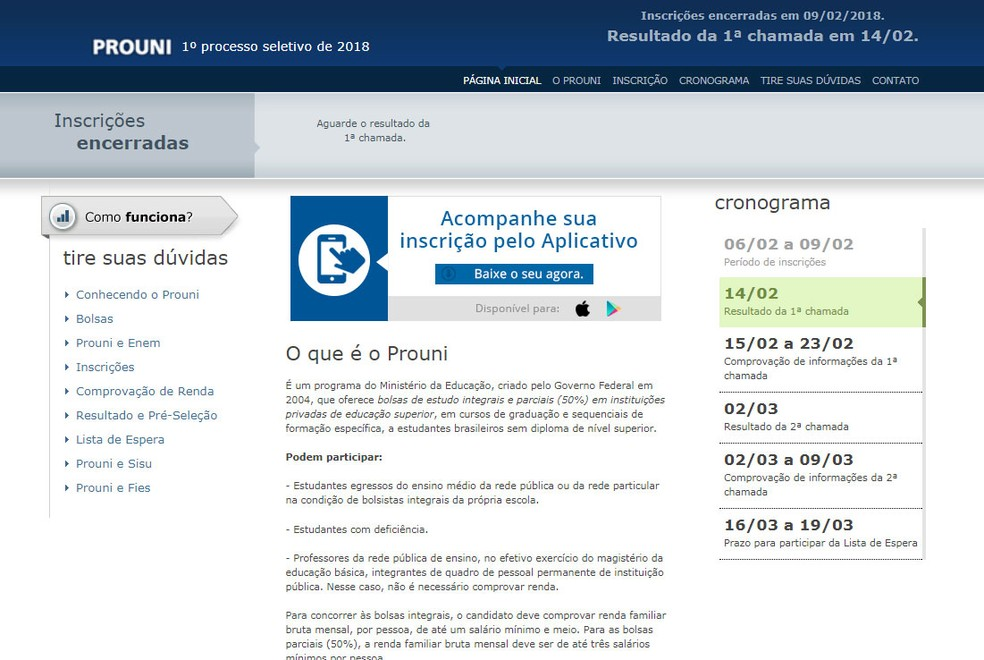 Site do Prouni volta a avisar a candidatos que aguardem o resultado. (Foto: Reprodução)
