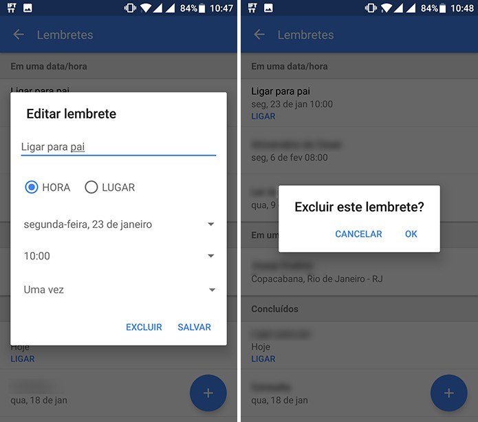Usuário pode editar detalhes do lembrete ou excluí-lo no Google App (Foto: Reprodução/Elson de Souza)
