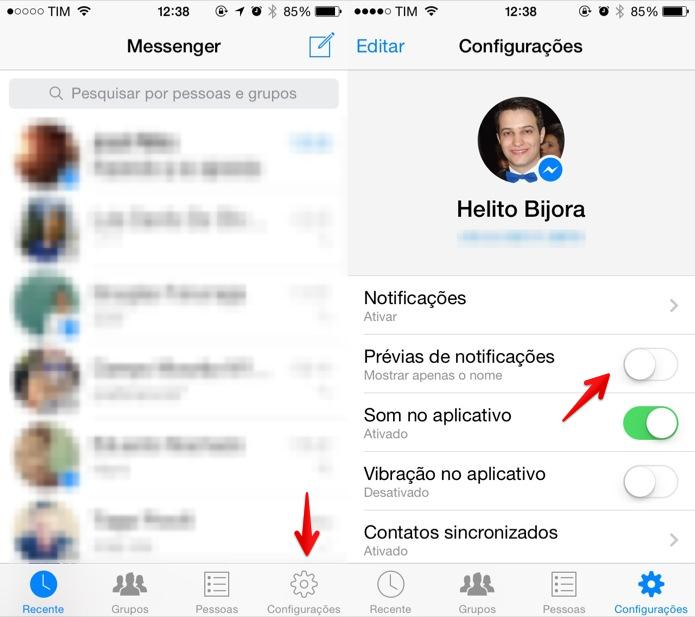 Desativando prévia de mensagens no iPhone (Foto: Reprodução/Helito Bijora)