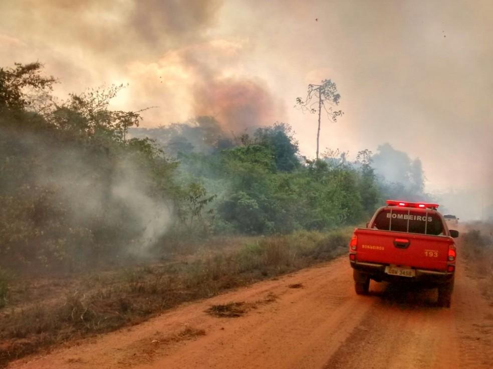 Fogo no Parque Estadual Serra de Ricardo Franco começou no feriado de 7 de setembro e foi extinto no domingo (Foto: Corpo de Bombeiros de MT)