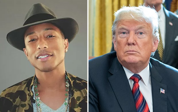 Pharrell Williams e Donald Trump (Foto: Divulgação/Getty Images)