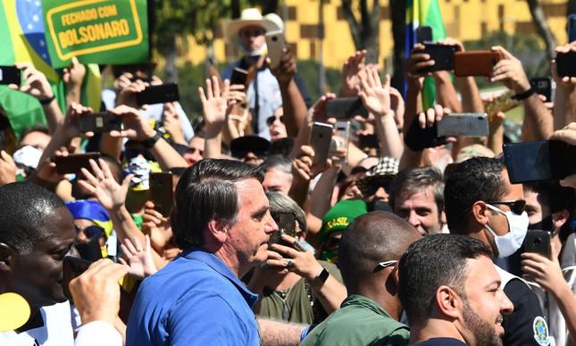 Bolsonaro durante ato em Brasília no último domingo