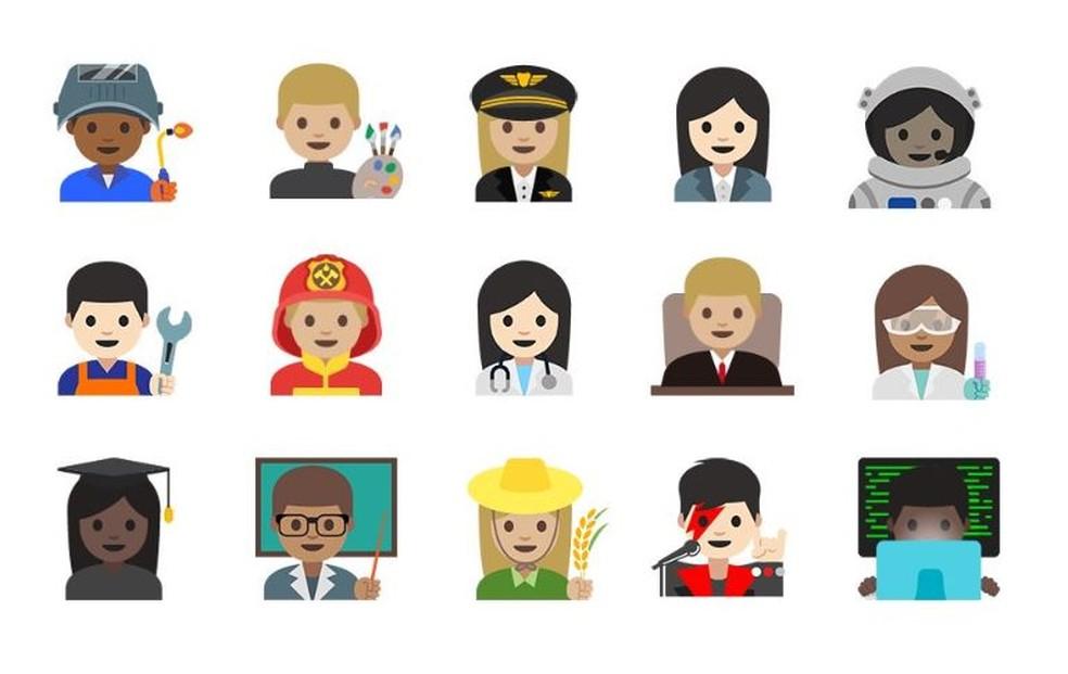 Emojis profissionais do Google trouxe variedade de personagens femininos — Foto: Reprodução/ Emojipedia