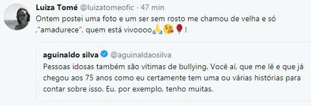 Comentário de Luiza Tomé em post de Agnaldo Silva (Foto: Reprodução/Twitter)