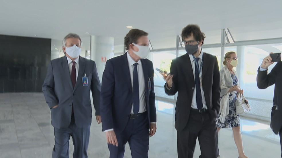 Marcelo Crivella esteve em Brasília para um encontro com Bolsonaro nesta quinta-feira — Foto: Reprodução/TV Globo