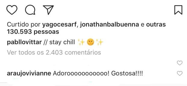 Viviane Araújo comenta post de Pabllo Vittar (Foto: Reprodução/Instagram)