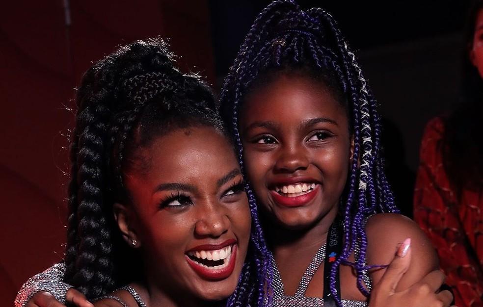Luara fez coreografia junto com Iza e encantou público no Rock in Rio 2019 — Foto: Reprodução/Multishow